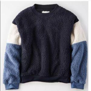 American Eagle Colour Block Sherpa Sweater